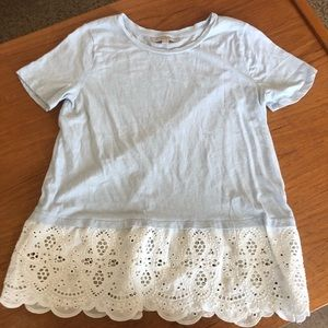 Blue and white lace trim tee - LOFT